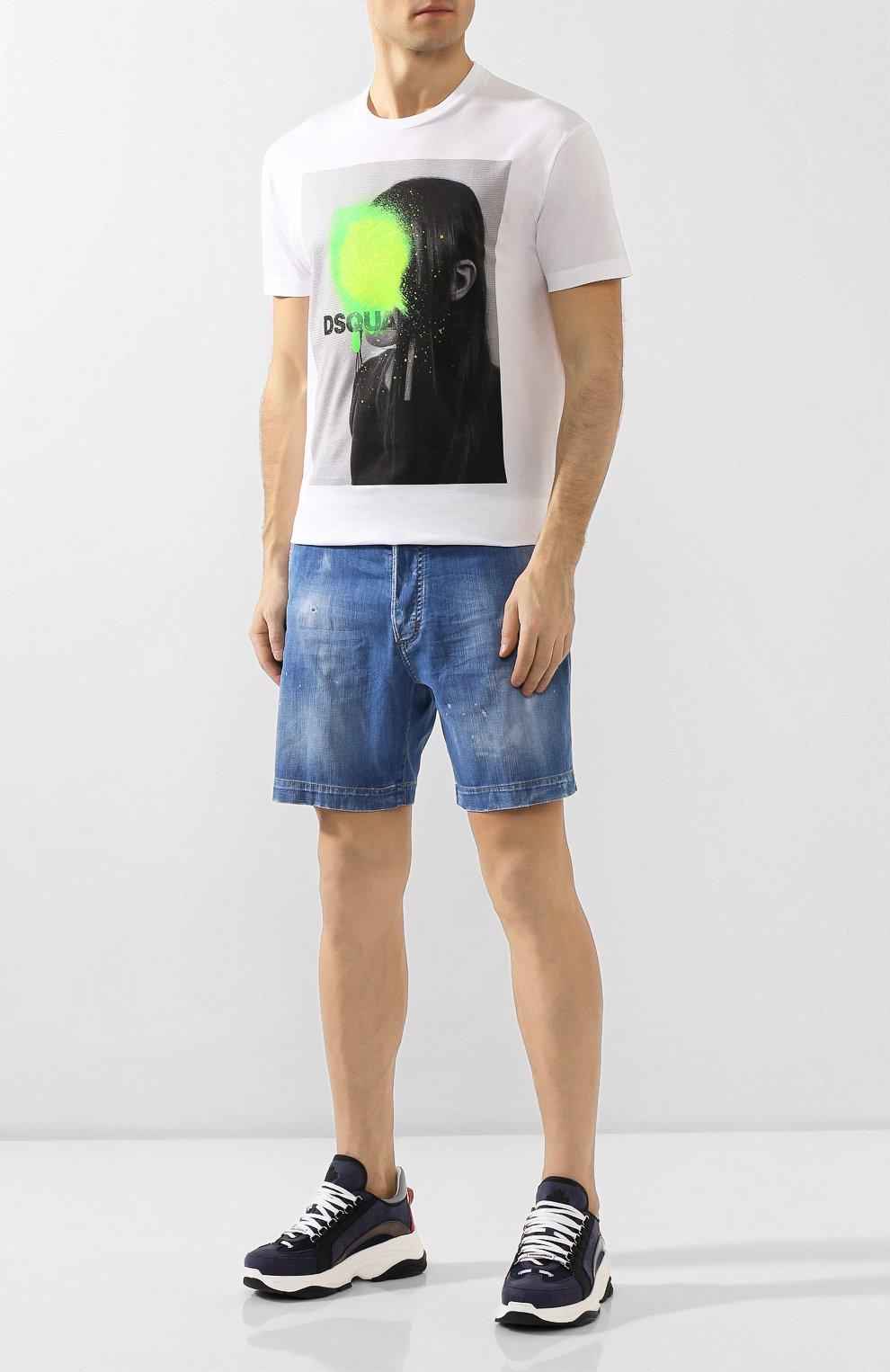 Мужские джинсовые шорты DSQUARED2 синего цвета, арт. S74MU0592/S30341 | Фото 2
