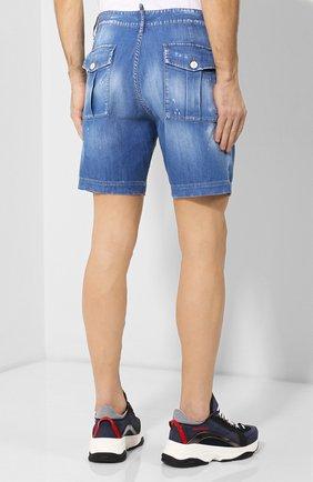 Мужские джинсовые шорты DSQUARED2 синего цвета, арт. S74MU0592/S30341 | Фото 4