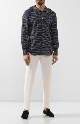 Мужская льняная рубашка KITON синего цвета, арт. UMCMARH0721508 | Фото 2