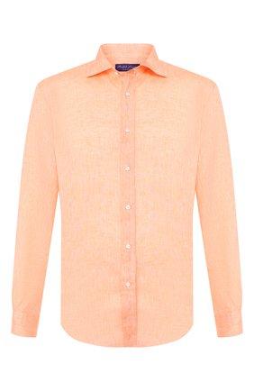 Мужская льняная рубашка RALPH LAUREN оранжевого цвета, арт. 790780933   Фото 1