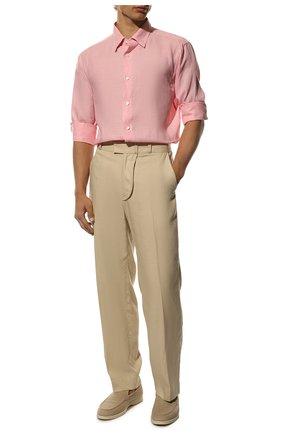 Мужская льняная рубашка BRIONI светло-розового цвета, арт. SCCA0L/P9111 | Фото 2