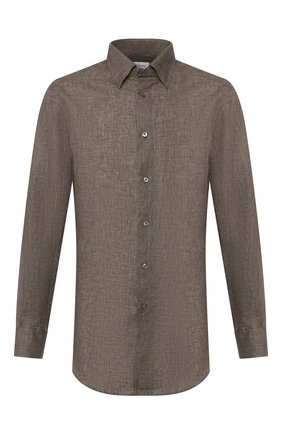 Мужская льняная рубашка BRIONI хаки цвета, арт. SCCA0L/P9111 | Фото 1