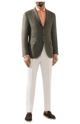 Мужской пиджак из смеси льна и шерсти BRUNELLO CUCINELLI хаки цвета, арт. MH4227BTD | Фото 2
