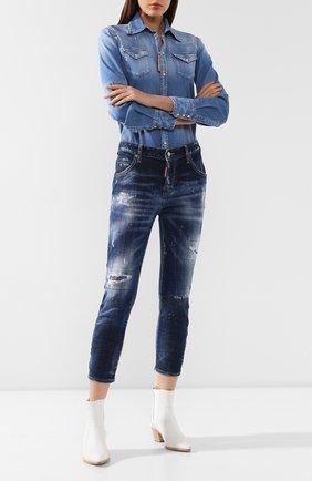Женские джинсы DSQUARED2 темно-синего цвета, арт. S75LB0271/S30342 | Фото 2