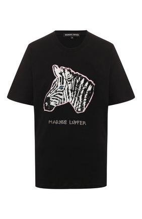 Женская хлопковая футболка MARKUS LUPFER черного цвета, арт. TEE340 | Фото 1