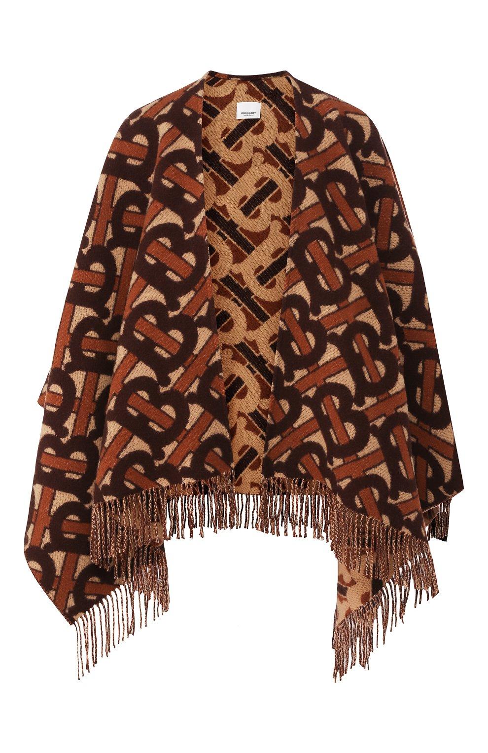 Женская шерстяное пончо BURBERRY коричневого цвета, арт. 8021873   Фото 1