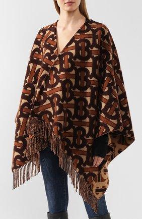 Женская шерстяное пончо BURBERRY коричневого цвета, арт. 8021873   Фото 3