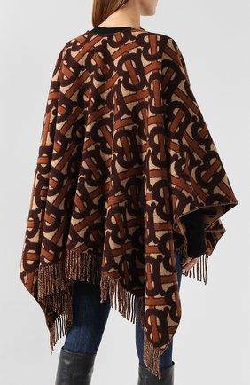 Женская шерстяное пончо BURBERRY коричневого цвета, арт. 8021873   Фото 4