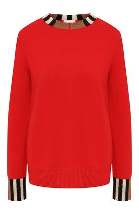 Женская кашемировый свитер BURBERRY красного цвета, арт. 8008937 | Фото 1