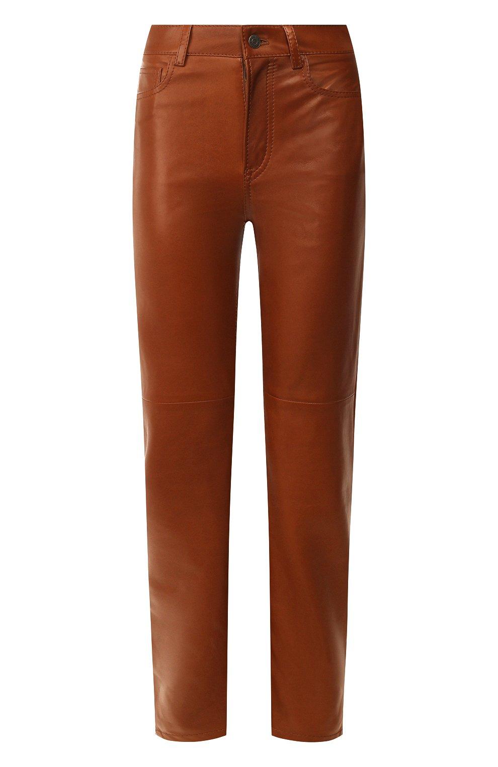 Женские кожаные брюки RALPH LAUREN коричневого цвета, арт. 290790826 | Фото 1