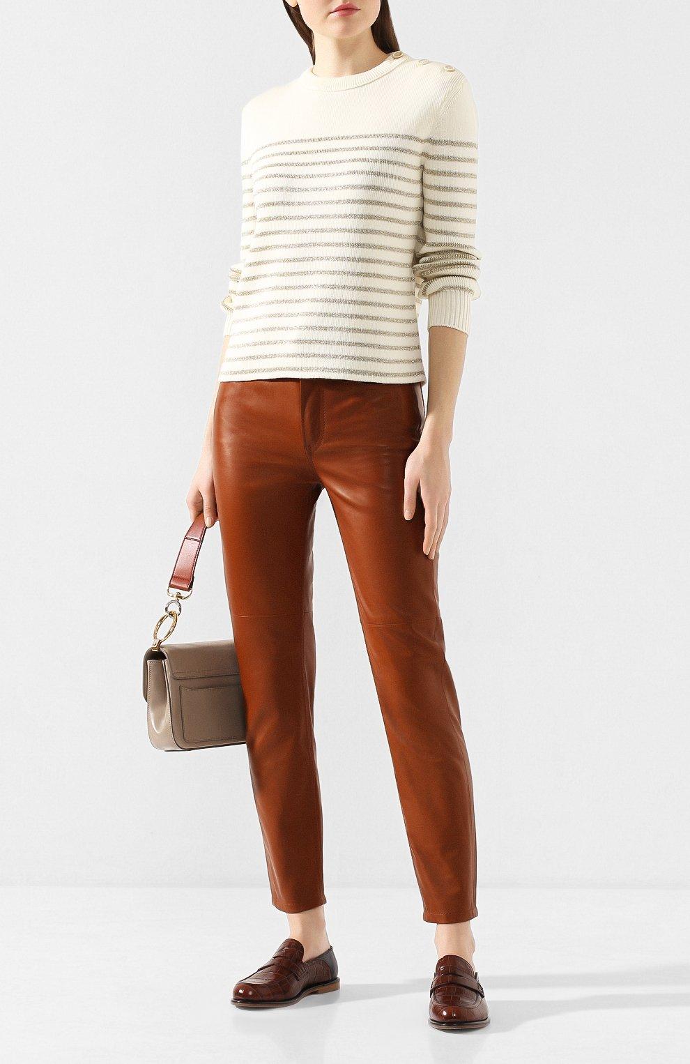 Женские кожаные брюки RALPH LAUREN коричневого цвета, арт. 290790826 | Фото 2