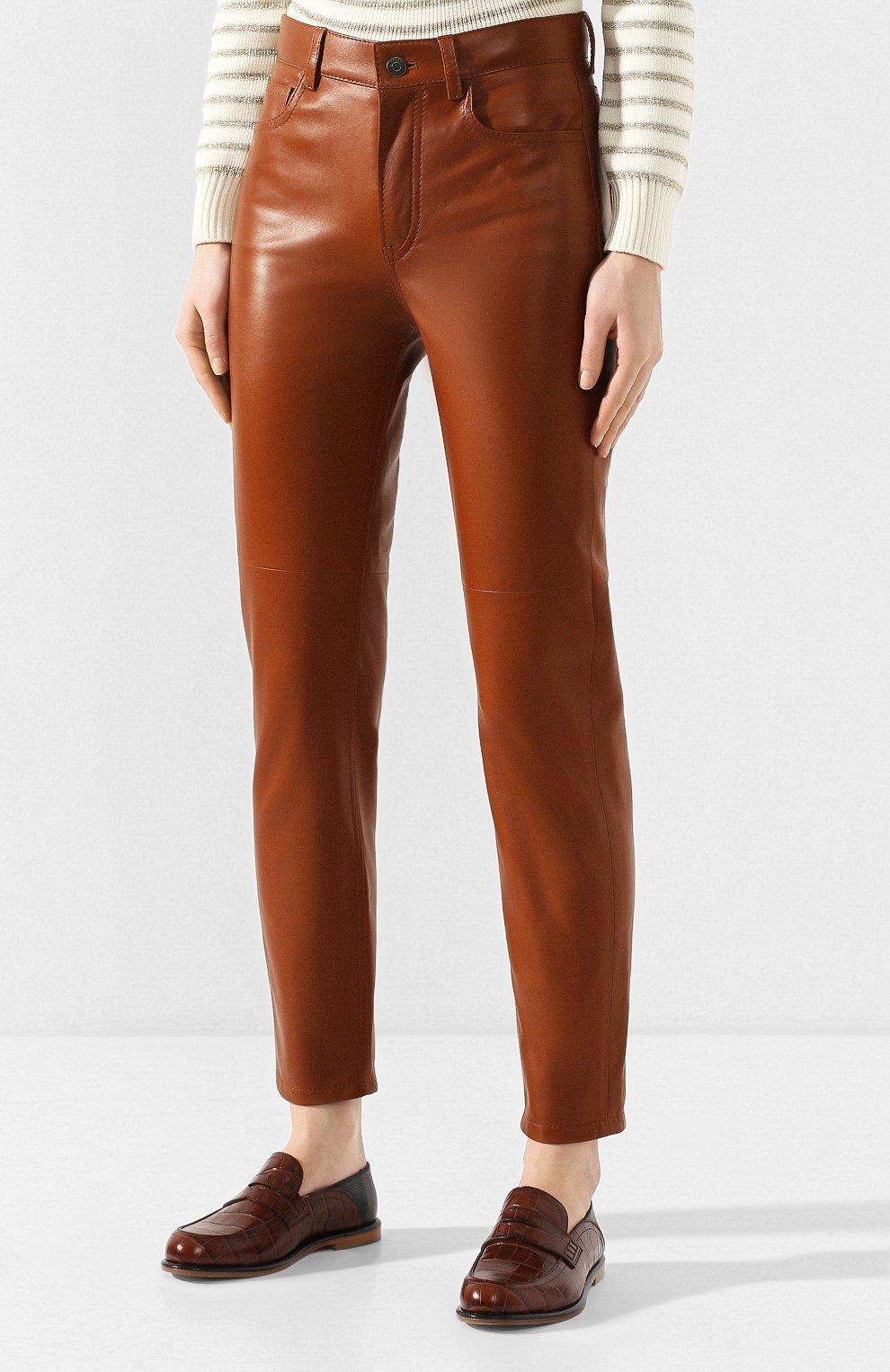 Женские кожаные брюки RALPH LAUREN коричневого цвета, арт. 290790826 | Фото 3