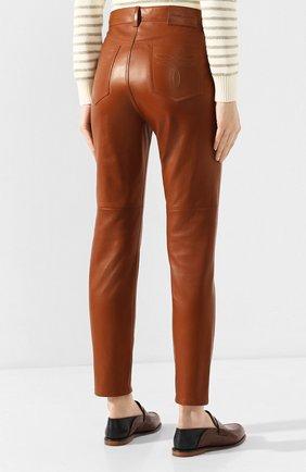 Женские кожаные брюки RALPH LAUREN коричневого цвета, арт. 290790826 | Фото 4
