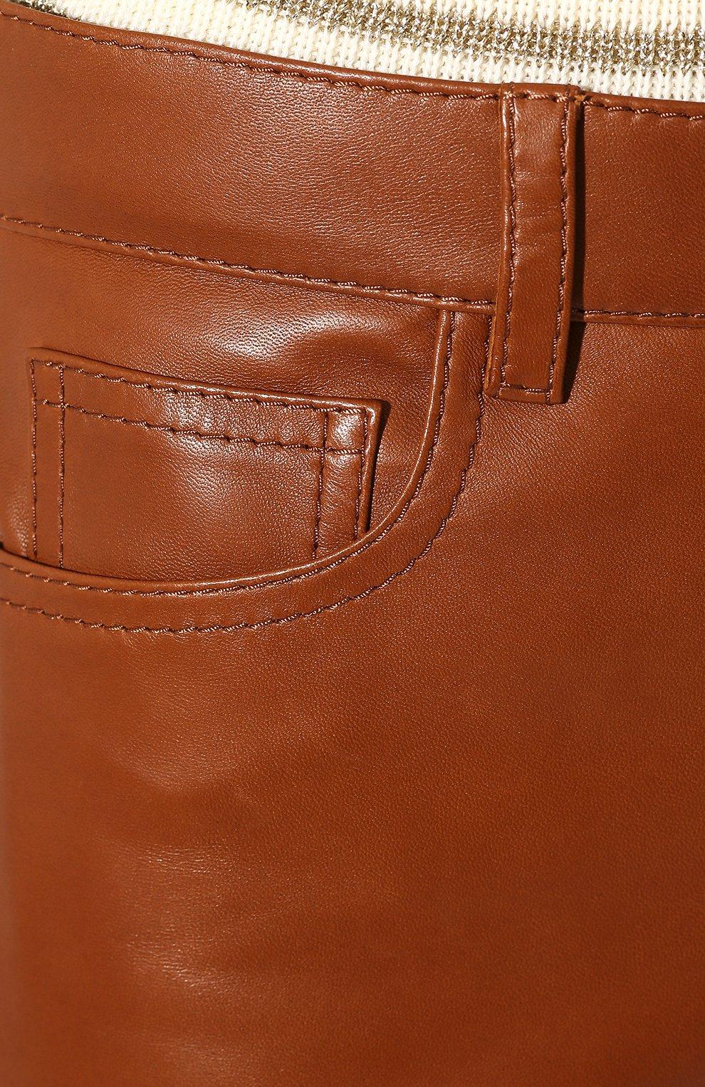 Женские кожаные брюки RALPH LAUREN коричневого цвета, арт. 290790826 | Фото 5
