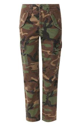 Женские хлопковые брюки POLO RALPH LAUREN хаки цвета, арт. 211780770 | Фото 1