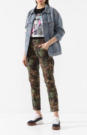 Женские хлопковые брюки POLO RALPH LAUREN хаки цвета, арт. 211780770 | Фото 2
