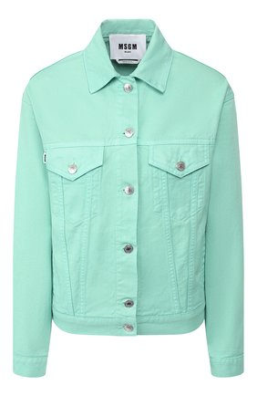 Женская джинсовая куртка MSGM светло-зеленого цвета, арт. 2841MDH51T 207276 | Фото 1