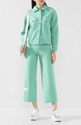 Женская джинсовая куртка MSGM светло-зеленого цвета, арт. 2841MDH51T 207276 | Фото 2