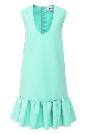 Женское платье с оборкой MSGM светло-зеленого цвета, арт. 2841MDA05 207100   Фото 1