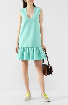 Женское платье с оборкой MSGM светло-зеленого цвета, арт. 2841MDA05 207100   Фото 2
