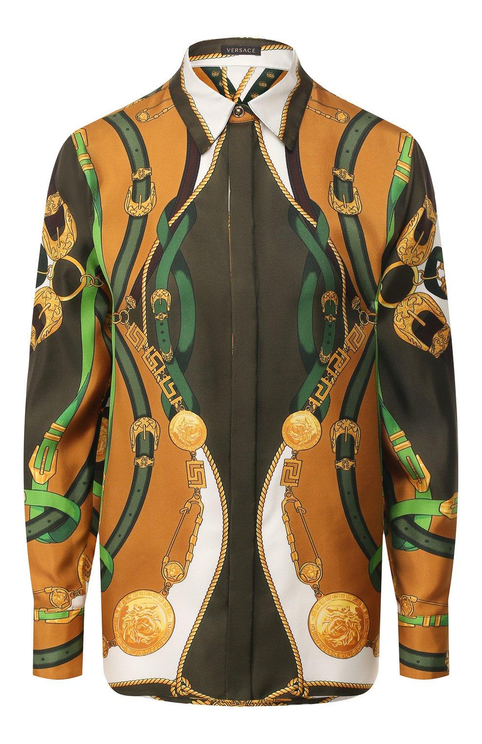 Женская шелковая рубашка VERSACE разноцветного цвета, арт. A82662/A233263 | Фото 1