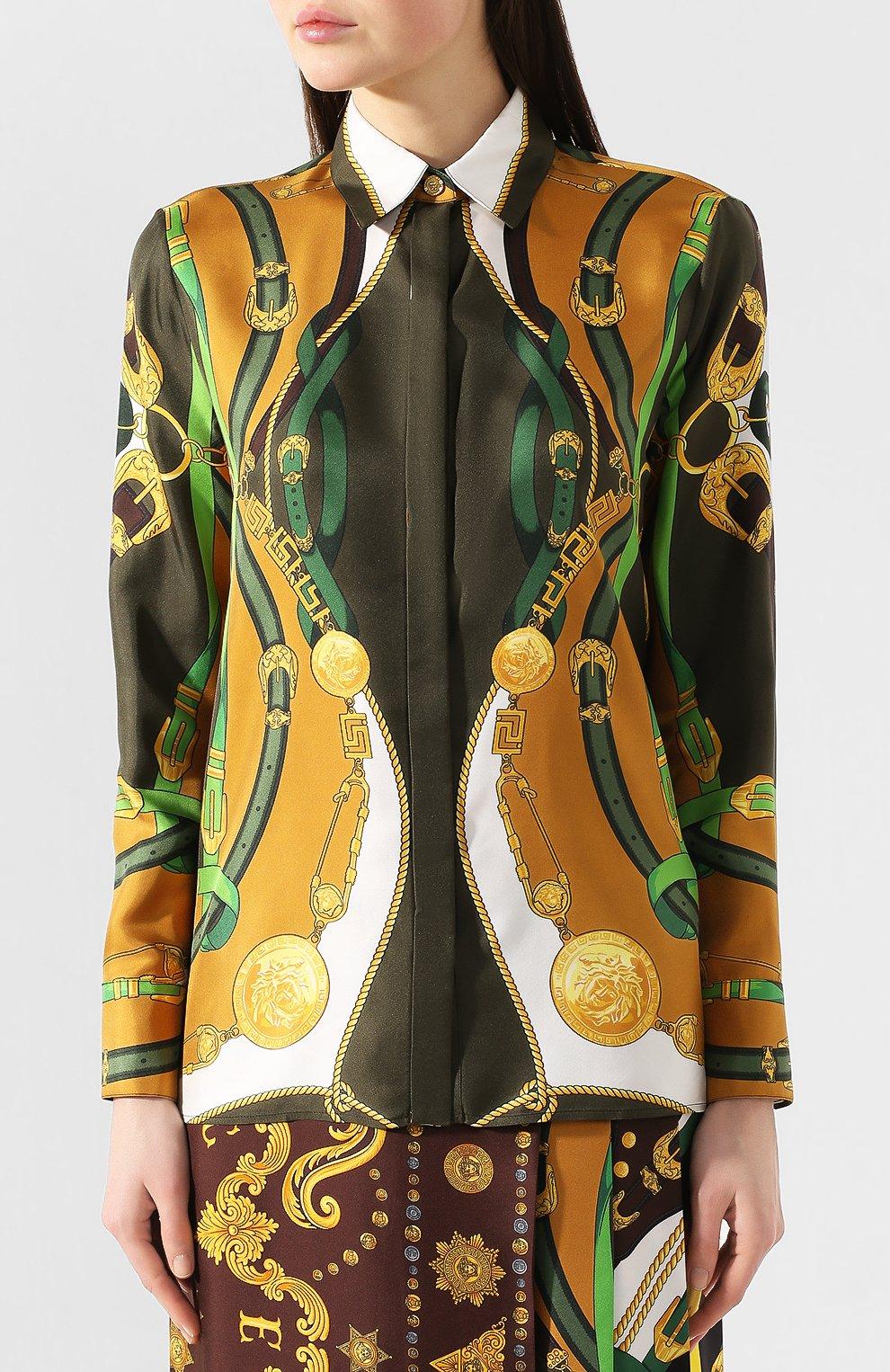 Женская шелковая рубашка VERSACE разноцветного цвета, арт. A82662/A233263 | Фото 3