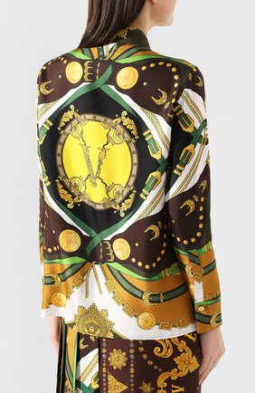 Женская шелковая рубашка VERSACE разноцветного цвета, арт. A82662/A233263 | Фото 4