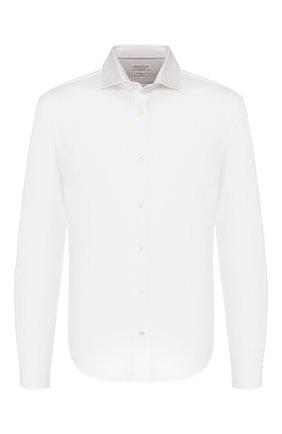 Мужская хлопковая рубашка BRUNELLO CUCINELLI белого цвета, арт. M0T656699 | Фото 1