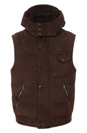 Мужской замшевый жилет DOLCE & GABBANA коричневого цвета, арт. G90P7L/HULD2 | Фото 1