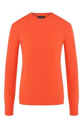 Женский кашемировый пуловер GIORGIO ARMANI оранжевого цвета, арт. 3HAM17/AM83Z | Фото 1 (Статус проверки: Проверена категория; Рукава: Длинные; Материал внешний: Кашемир, Шерсть; Длина (для топов): Стандартные; Женское Кросс-КТ: Пуловер-одежда)