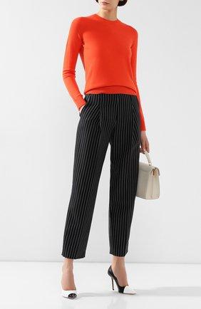 Женский кашемировый пуловер GIORGIO ARMANI оранжевого цвета, арт. 3HAM17/AM83Z | Фото 2 (Статус проверки: Проверена категория; Рукава: Длинные; Материал внешний: Кашемир, Шерсть; Длина (для топов): Стандартные; Женское Кросс-КТ: Пуловер-одежда)