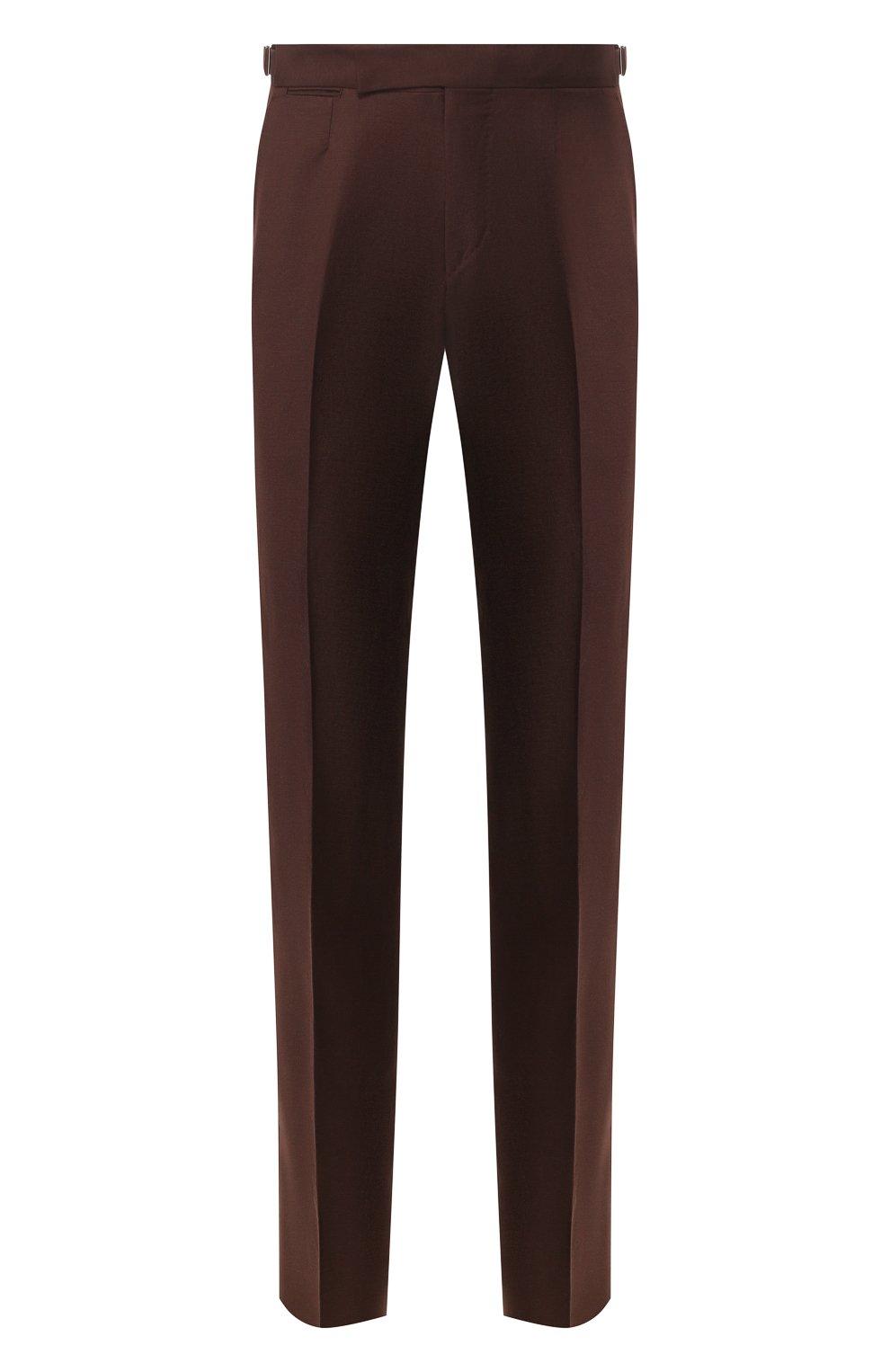 Мужские брюки из смеси шерсти и льна ERMENEGILDO ZEGNA коричневого цвета, арт. 718F10/75F812   Фото 1
