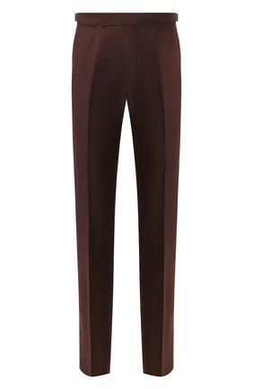 Мужской брюки из смеси шерсти и льна ERMENEGILDO ZEGNA коричневого цвета, арт. 718F10/75F812 | Фото 1