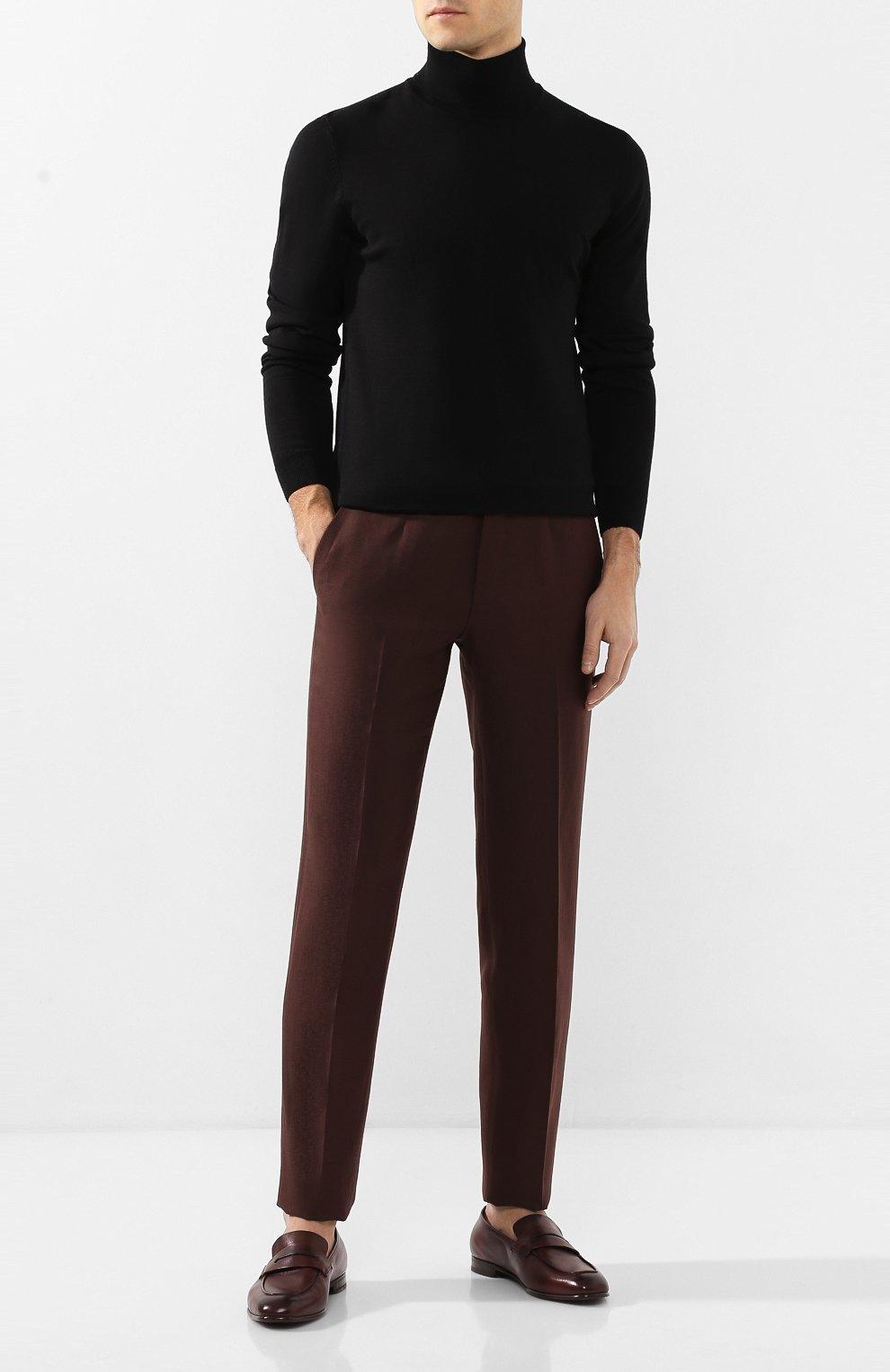 Мужские брюки из смеси шерсти и льна ERMENEGILDO ZEGNA коричневого цвета, арт. 718F10/75F812   Фото 2