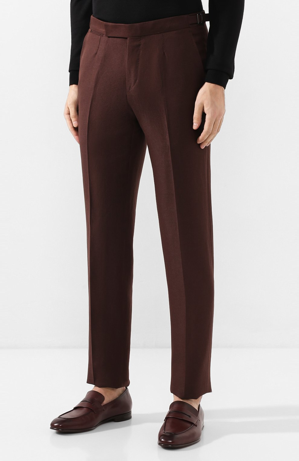 Мужские брюки из смеси шерсти и льна ERMENEGILDO ZEGNA коричневого цвета, арт. 718F10/75F812   Фото 3