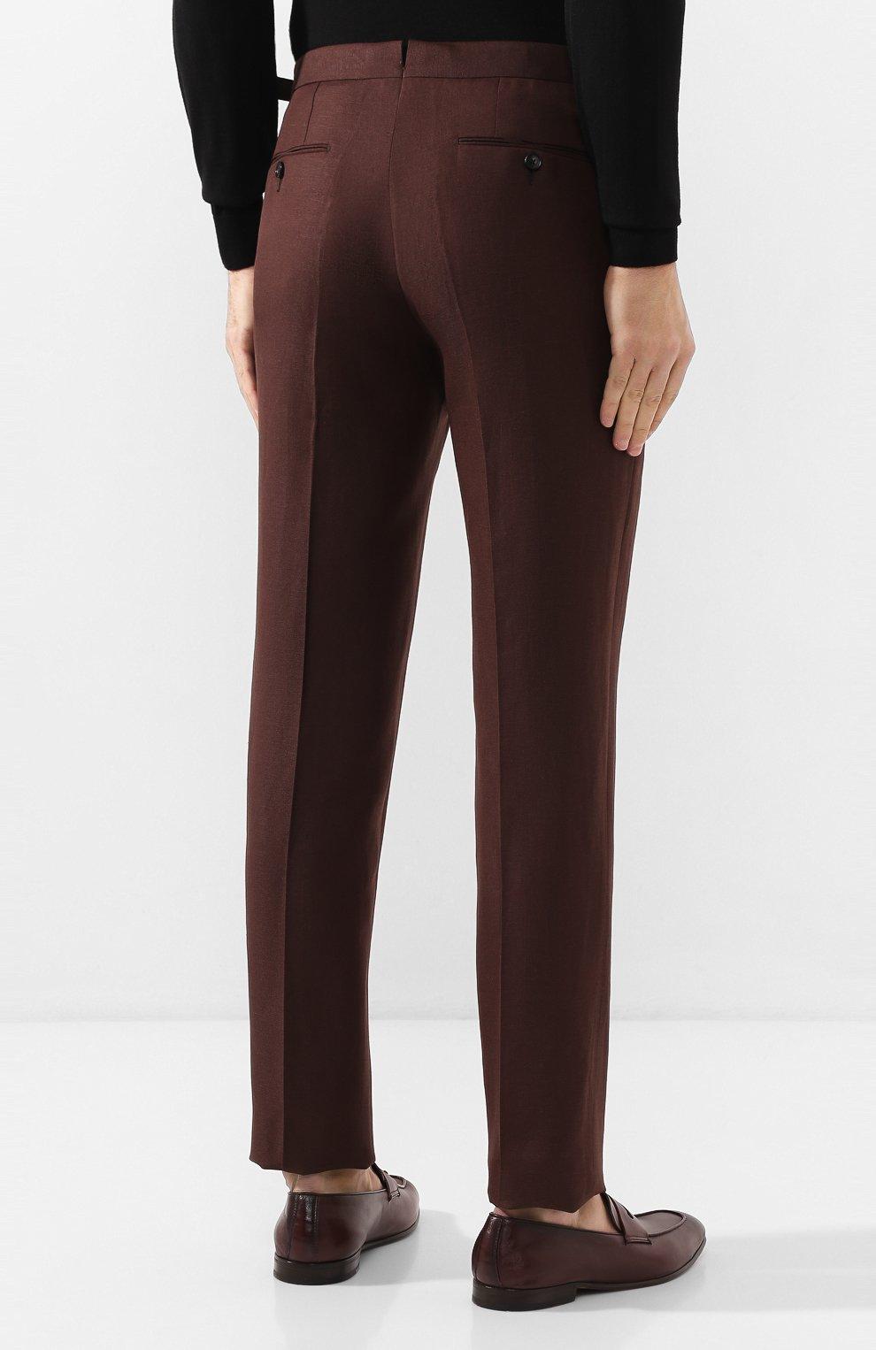 Мужские брюки из смеси шерсти и льна ERMENEGILDO ZEGNA коричневого цвета, арт. 718F10/75F812   Фото 4