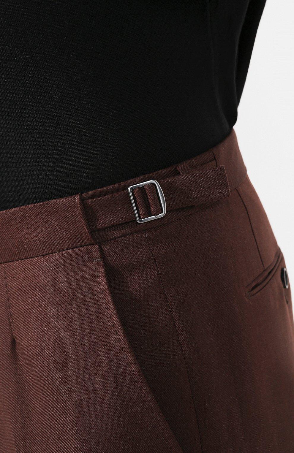 Мужские брюки из смеси шерсти и льна ERMENEGILDO ZEGNA коричневого цвета, арт. 718F10/75F812   Фото 5