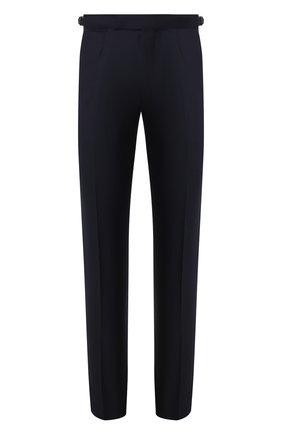 Мужские брюки из смеси шерсти и льна ERMENEGILDO ZEGNA темно-синего цвета, арт. 718F05/75F812 | Фото 1