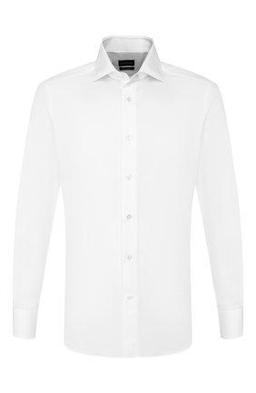 Мужская хлопковая сорочка ERMENEGILDO ZEGNA белого цвета, арт. 701500/9MS0BA | Фото 1