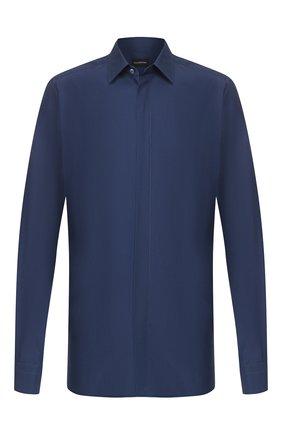 Мужская сорочка из смеси шелка и хлопка ERMENEGILDO ZEGNA синего цвета, арт. 701401/9YC0CA | Фото 1