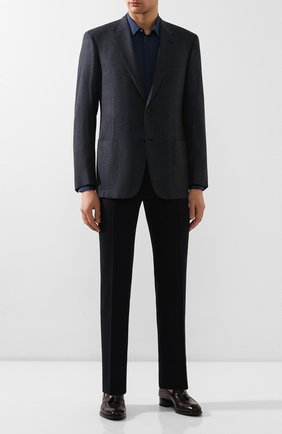 Мужская сорочка из смеси шелка и хлопка ERMENEGILDO ZEGNA синего цвета, арт. 701401/9YC0CA | Фото 2