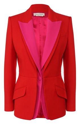 Женский жакет из смеси шерсти и шелка ALEXANDER MCQUEEN красного цвета, арт. 598941/QJAAA | Фото 1