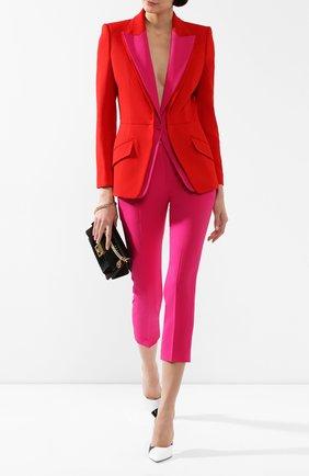 Женский жакет из смеси шерсти и шелка ALEXANDER MCQUEEN красного цвета, арт. 598941/QJAAA | Фото 2