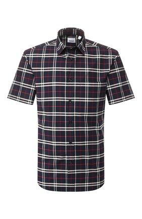 Мужская хлопковая рубашка BURBERRY синего цвета, арт. 8020964 | Фото 1