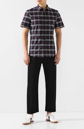 Мужская хлопковая рубашка BURBERRY синего цвета, арт. 8020964 | Фото 2