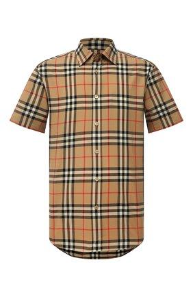 Мужская хлопковая рубашка BURBERRY бежевого цвета, арт. 8020869 | Фото 1