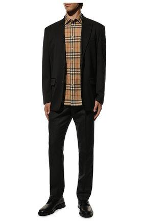 Мужская хлопковая рубашка BURBERRY бежевого цвета, арт. 8020869 | Фото 2