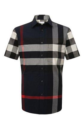 Мужская хлопковая рубашка BURBERRY синего цвета, арт. 8020855   Фото 1