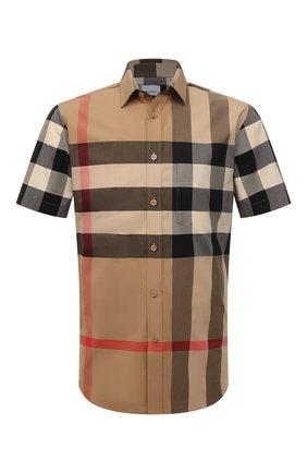 Мужская хлопковая рубашка BURBERRY бежевого цвета, арт. 8017322 | Фото 1