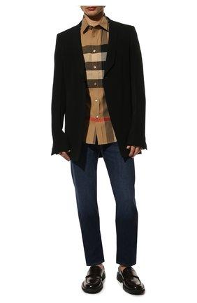 Мужская хлопковая рубашка BURBERRY бежевого цвета, арт. 8017322 | Фото 2